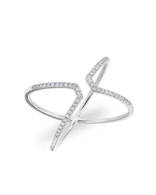 Anne Sisteron - Metallic 14kt White Gold Diamond Open X Ring - Lyst