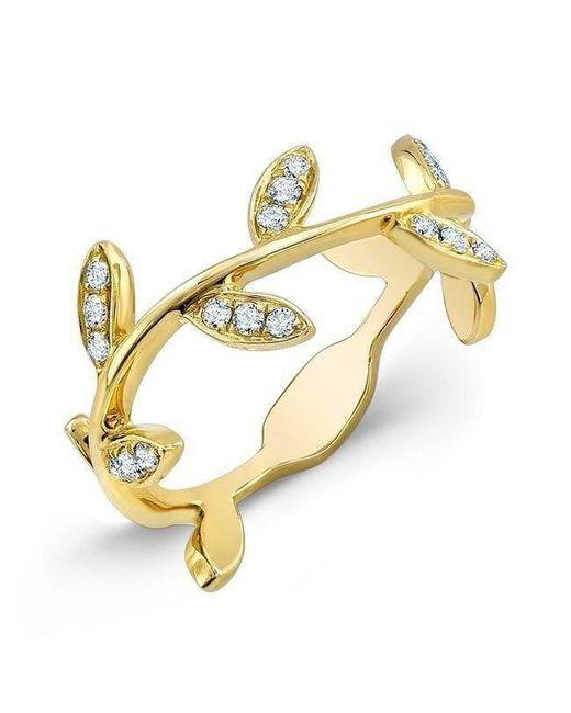 Anne Sisteron - Metallic 14kt Yellow Gold Diamond Leaf Knuckle Ring - Lyst
