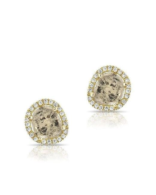 Anne Sisteron - Metallic 14kt Yellow Gold Diamond Slice Stud Earrings - Lyst