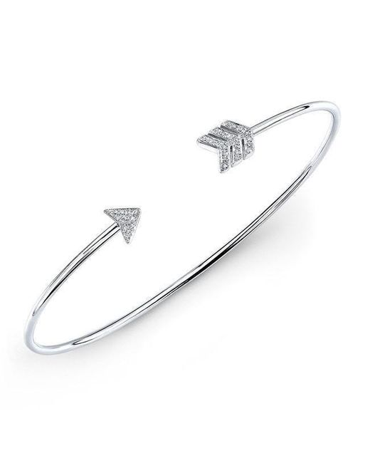 Anne Sisteron - Metallic 14kt White Gold Diamond Arrow Cuff - Lyst
