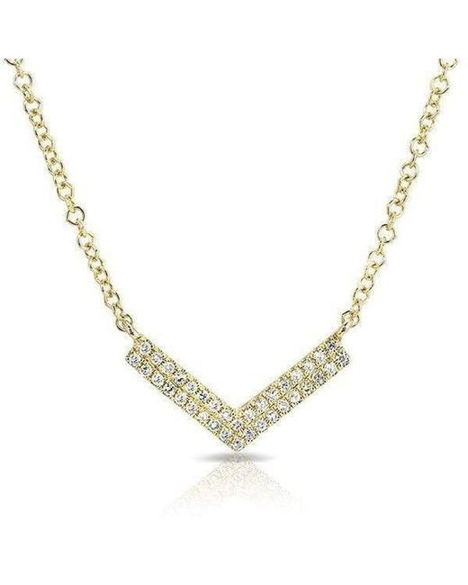 Anne Sisteron - Metallic 14kt Yellow Gold Diamond Mini Chevron Necklace - Lyst