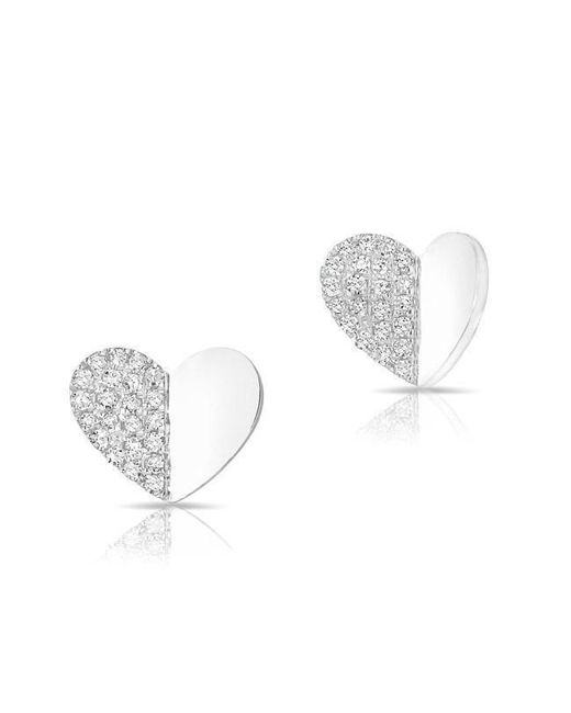 Anne Sisteron - Metallic 14kt White Gold Half Diamond Folded Heart Stud Earrings - Lyst