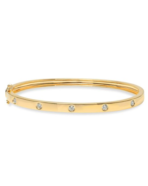 Anne Sisteron - Metallic 14kt Yellow Gold Half Diamond Glisten Bangle Bracelet - Lyst