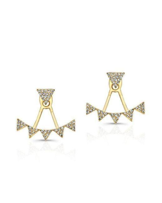 Anne Sisteron - Metallic 14kt Yellow Gold Diamond Triangle Tiara Floating Earrings - Lyst