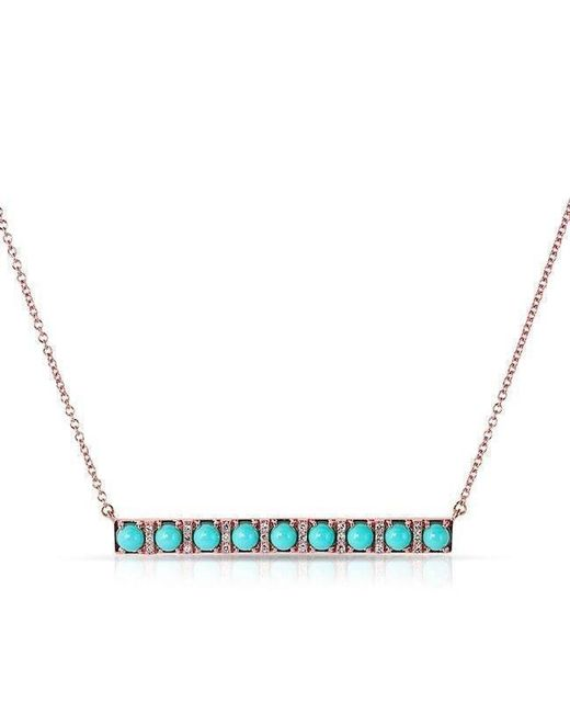 Anne Sisteron - Blue 14kt Rose Gold Turquoise Diamond Bar Necklace - Lyst