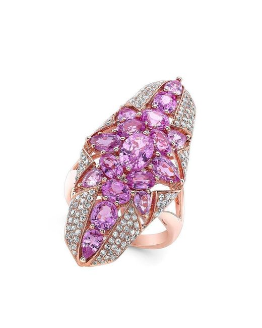Anne Sisteron - Multicolor 14kt Rose Gold Pink Sapphire Star Diamond Ring - Lyst