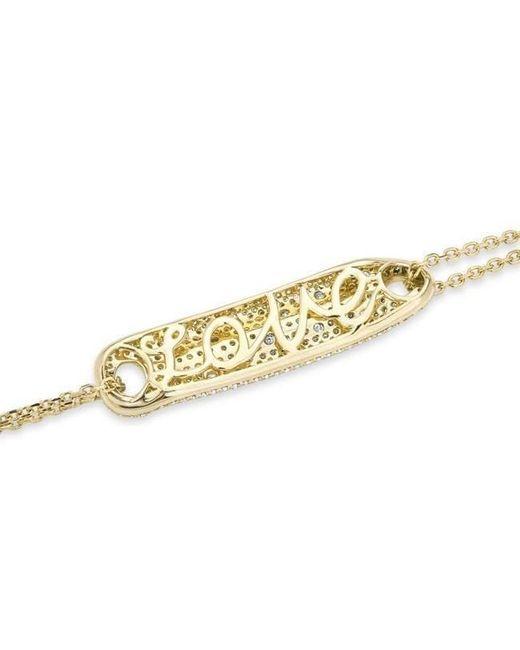 Anne Sisteron - Metallic 14kt Yellow Gold Diamond Secret Love Bracelet - Lyst