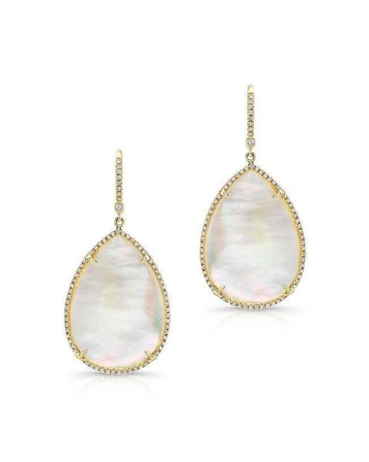 Anne Sisteron - Metallic 14kt Yellow Gold Mother Of Pearl Diamond Pear Earrings - Lyst