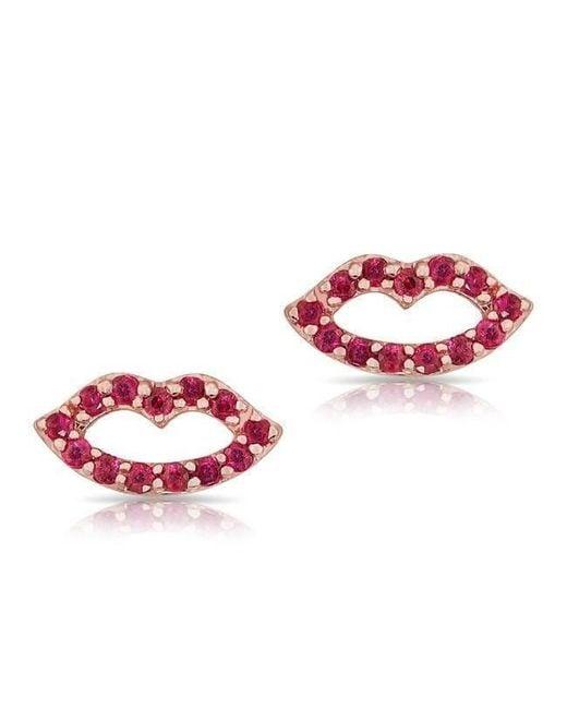 Anne Sisteron - Pink 14kt Rose Gold Ruby Kiss Stud Earrings - Lyst