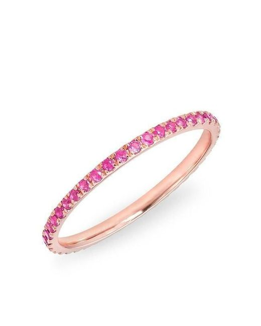 Anne Sisteron - 14kt Rose Gold Pink Sapphire Eternity Stacking Ring - Lyst