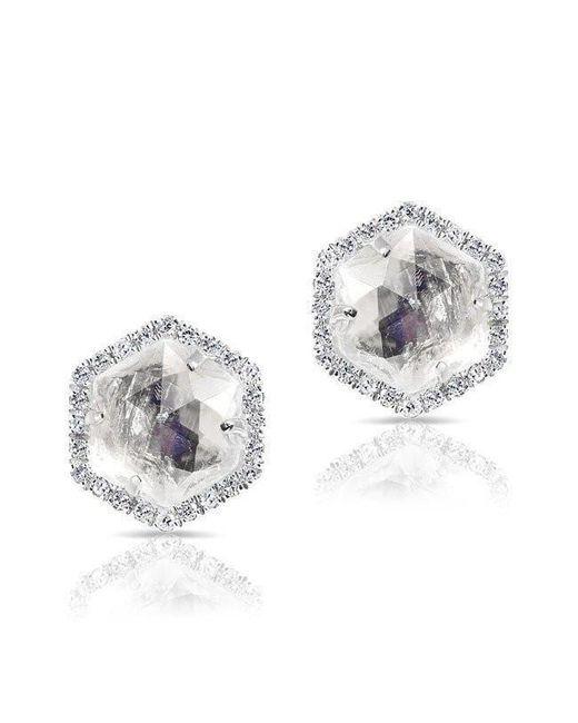 Anne Sisteron - Multicolor 14kt White Gold Moonstone Diamond Hexagon Stud Earrings - Lyst