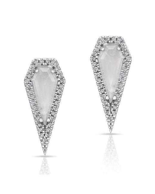 Anne Sisteron | Metallic 14kt White Gold Moonstone Diamond Shield Earrings | Lyst