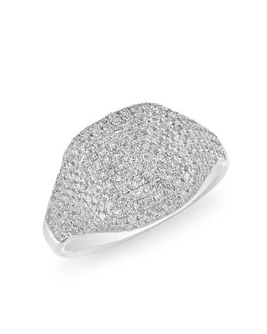Anne Sisteron - Metallic 14kt White Gold Diamond Cushion Pinkie Ring - Lyst