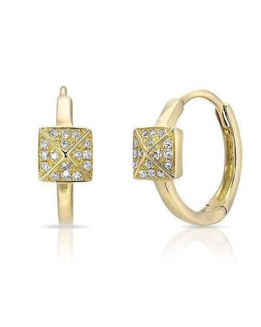 Anne Sisteron - Metallic 14kt Yellow Gold Diamond Pyramid Huggie Earrings - Lyst