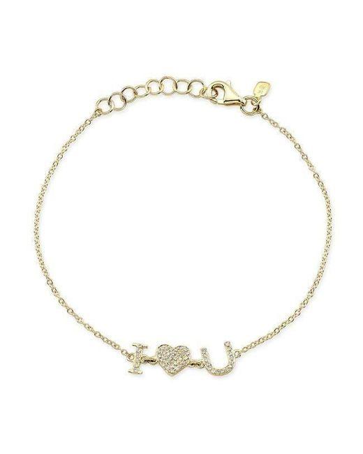 Anne Sisteron | Metallic 14kt Yellow Gold Diamond I - Heart - U Bracelet | Lyst