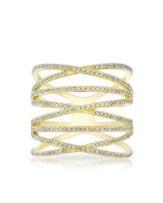 Anne Sisteron - Metallic 14kt Yellow Gold Diamond Multiband Riverly Ring - Lyst