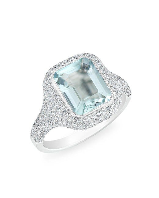 Anne Sisteron - Metallic 14kt White Gold Diamond Aquamarine Rectangle Ring - Lyst