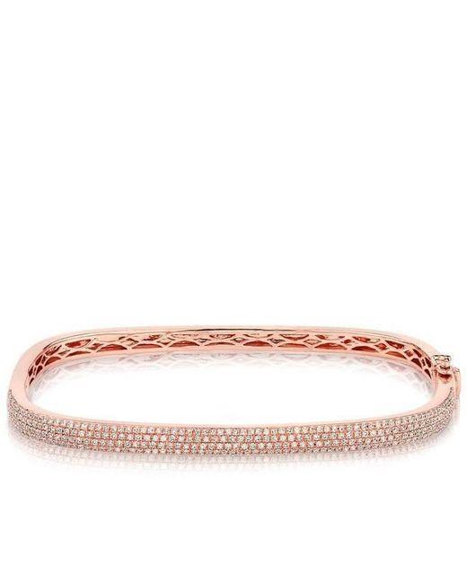Anne Sisteron - Multicolor 14kt Rose Gold Half Diamond Square Bangle Bracelet - Lyst