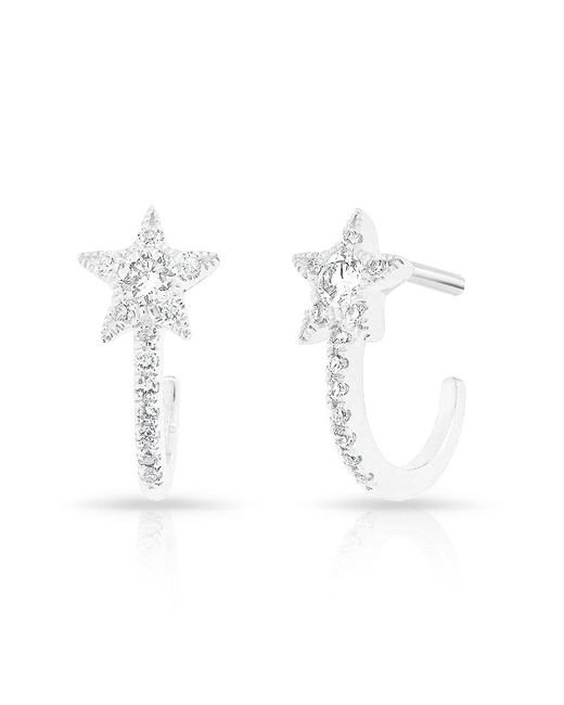Anne Sisteron - Metallic 14kt White Gold Diamond Curved Star Huggie Earrings - Lyst