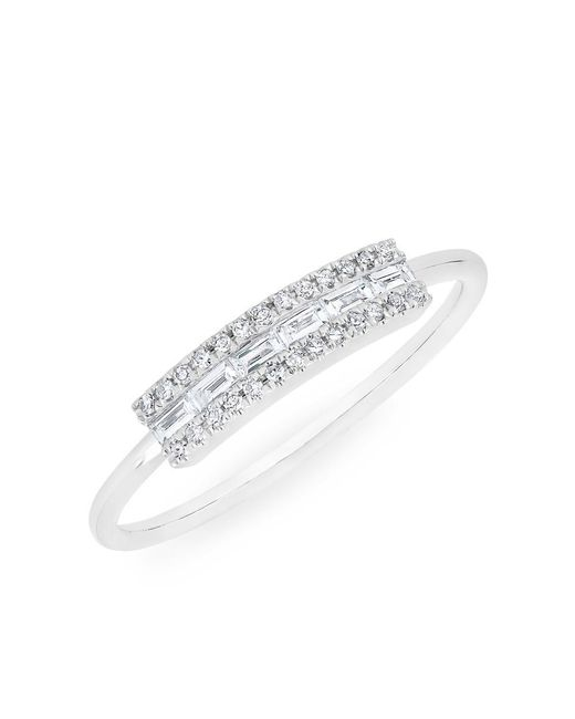 Anne Sisteron | 14kt White Gold Diamond Baguette Curved Bar Delilah Ring | Lyst