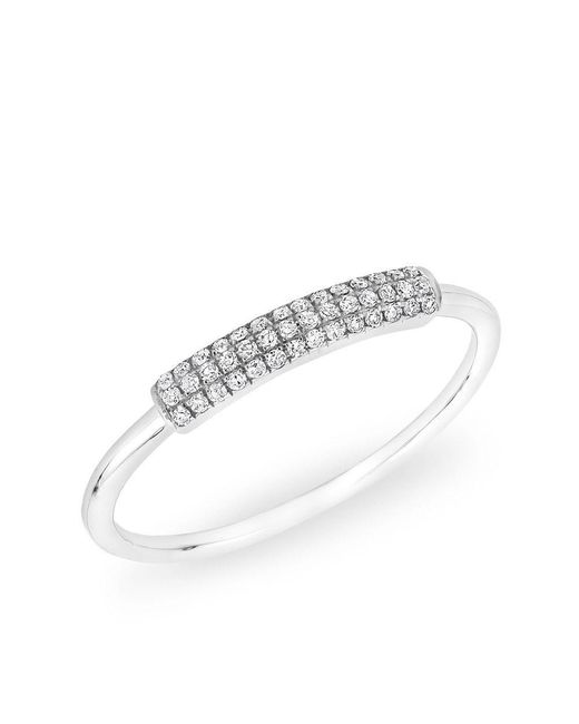 Anne Sisteron - Multicolor 14kt White Gold Diamond Rounded Bar Ring - Lyst