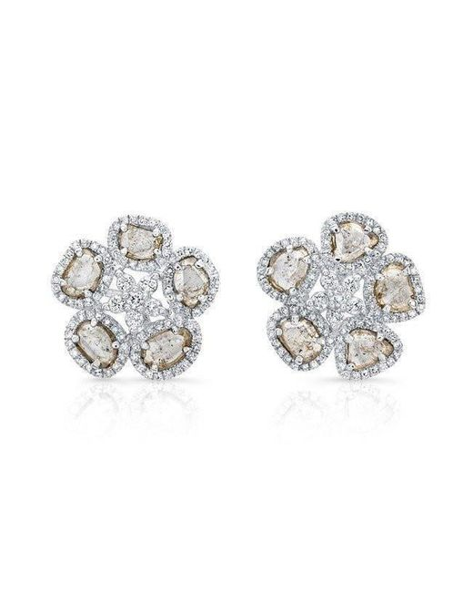 Anne Sisteron - Metallic 14kt White Gold Diamond Slice Mae Flower Earrings - Lyst