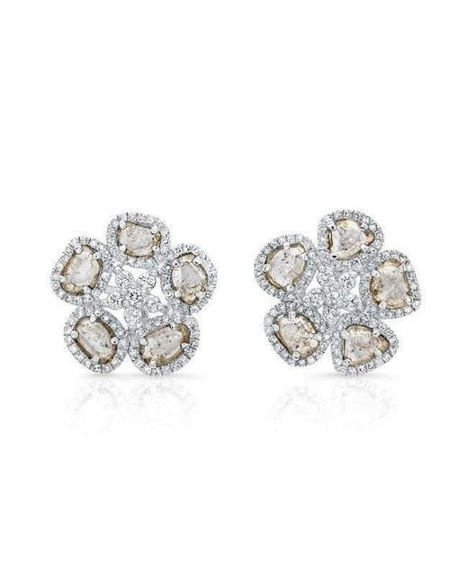 Anne Sisteron | Metallic 14kt White Gold Diamond Slice Mae Flower Earrings | Lyst