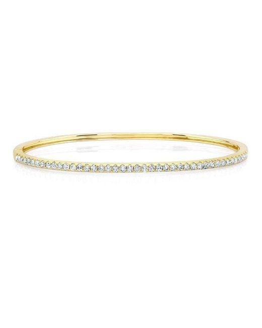 Anne Sisteron - Metallic 14kt Yellow Gold Half Diamond Bangle Bracelet - Lyst