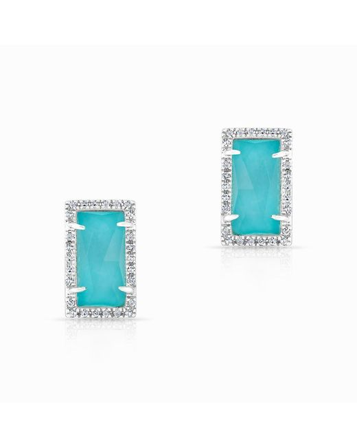 Anne Sisteron | Blue 14kt White Gold Diamond Turquoise Sara Stud Earrings | Lyst