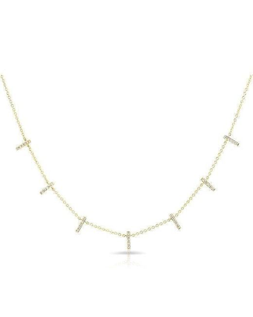 Anne Sisteron - Multicolor 14kt Yellow Gold Diamond Base Bar Necklace - Lyst