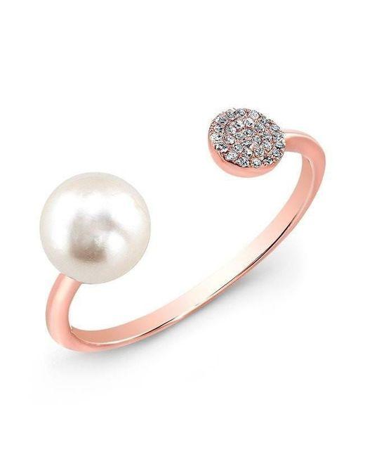 Anne Sisteron - Metallic 14kt Rose Gold Christina Pearl Diamond Disc Ring - Lyst