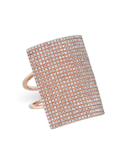 Anne Sisteron - Multicolor 14kt Rose Gold Diamond Rectangle Armor Ring - Lyst