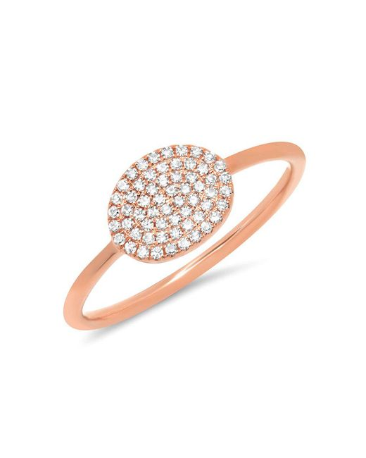 Anne Sisteron - Metallic 14kt Rose Gold Diamond Pave Oval Ring - Lyst