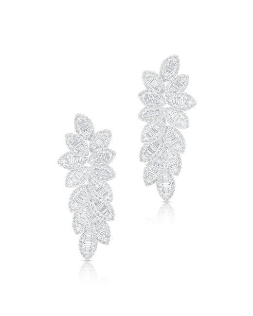 Anne Sisteron - 14kt White Gold Baguette Diamond Petal Drop Amara Earrings - Lyst