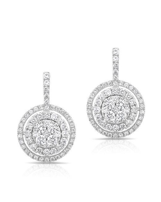 Anne Sisteron | Metallic 14kt White Gold Pave Diamond Double Halo Wireback Earrings | Lyst