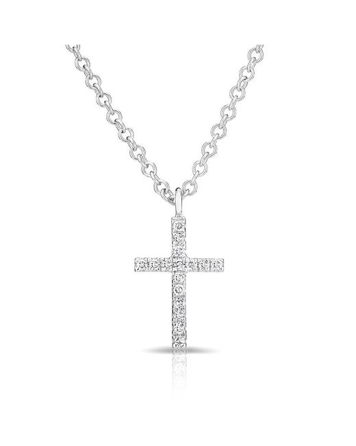 Anne Sisteron | Metallic 14kt White Gold Diamond Cross Necklace | Lyst