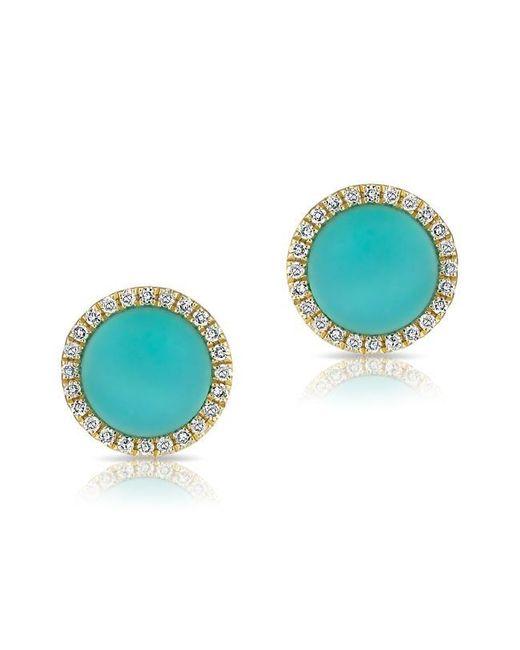 Anne Sisteron | Blue 14kt White Gold Turquoise Diamond Disc Stud Earrings | Lyst