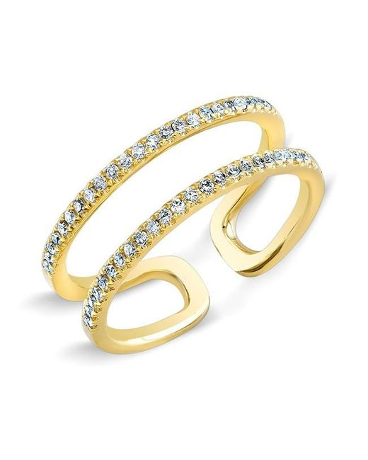 Anne Sisteron | Metallic 14kt Yellow Gold Diamond Double Bar Ring | Lyst