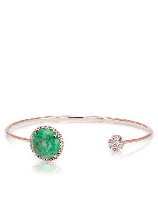 Anne Sisteron   Green 14kt Rose Gold Emerald And Diamond Disc Bracelet   Lyst