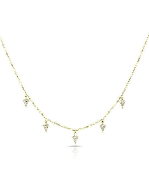 Anne Sisteron | Metallic 14kt Yellow Gold Diamond Small Shield Drops Necklace | Lyst