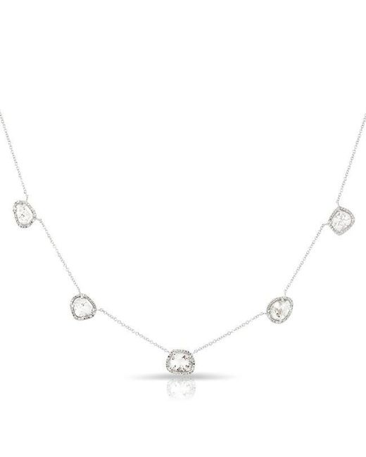 Anne Sisteron | Metallic 14kt White Gold 5 Diamond Slice Necklace | Lyst