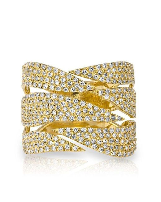 Anne Sisteron | Metallic 14kt Yellow Gold Diamond Flame Ring | Lyst