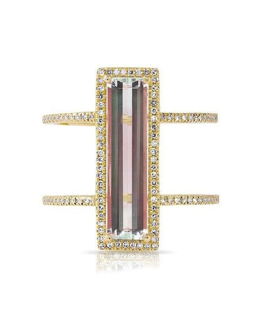 Anne Sisteron | Metallic 14kt Yellow Gold Aquamarine Diamond Beam Ring | Lyst