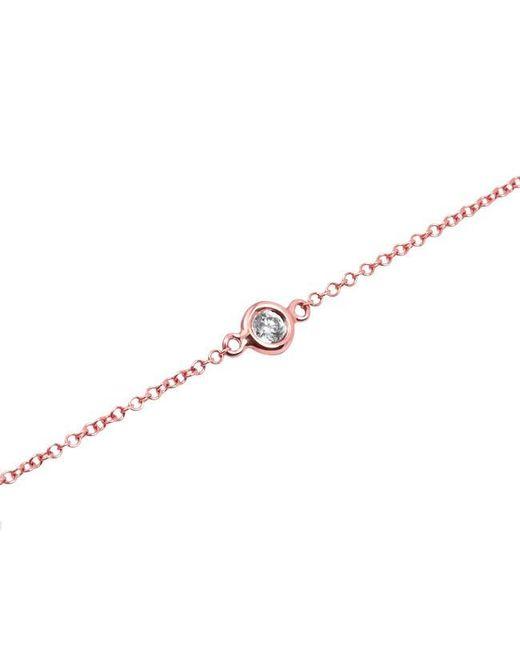Anne Sisteron | Metallic 14kt Rose Gold Diamond Solitaire Bracelet | Lyst