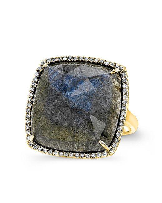 Anne Sisteron | Metallic 14kt Yellow Gold Labradorite Diamond Cushion Cut Cocktail Ring | Lyst
