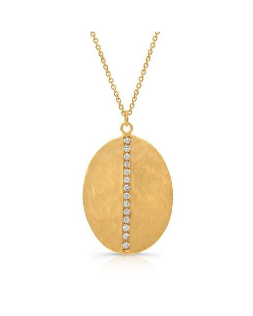 Anne Sisteron | Metallic 14kt Yellow Gold Diamond Oval Necklace | Lyst