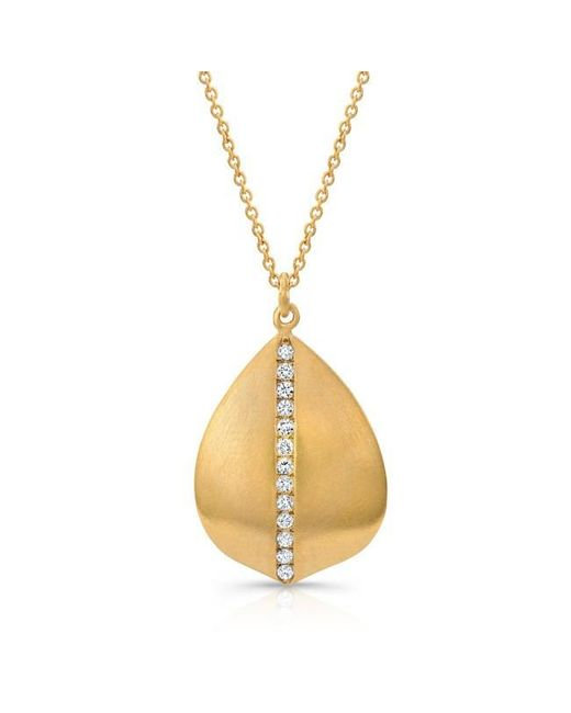 Anne Sisteron | Metallic 14kt Yellow Gold Petal With Diamond Stem Necklace | Lyst