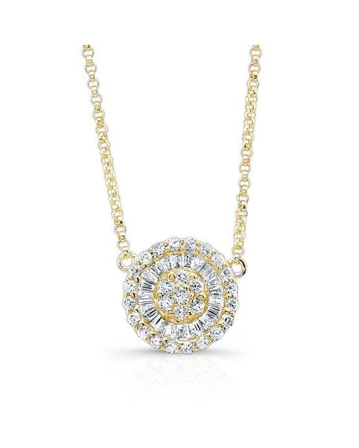 Anne Sisteron | Metallic 14kt Yellow Gold Baguette Diamond Disc Necklace | Lyst