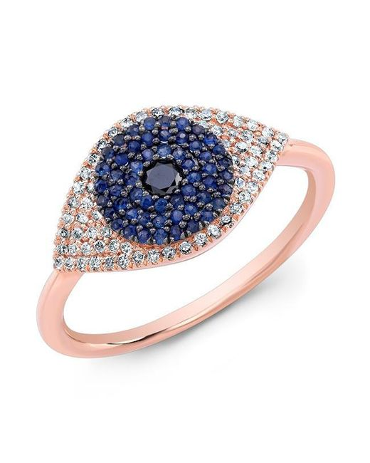 Anne Sisteron | 14kt Rose Gold Diamond And Blue Sapphire Evil Eye Ring | Lyst