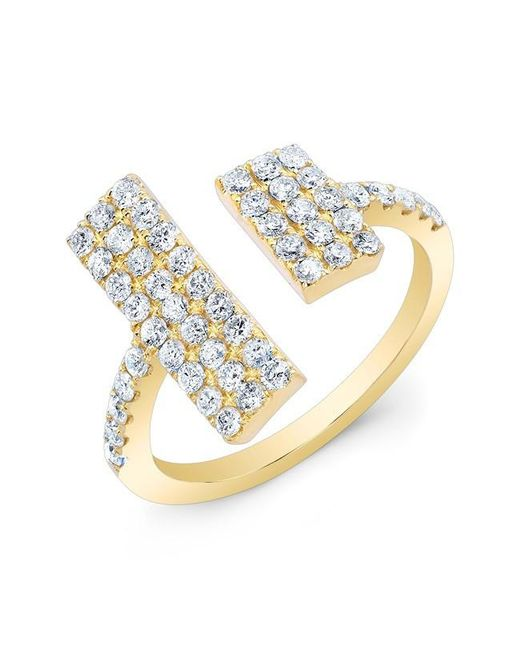 Anne Sisteron | Metallic 14kt Yellow Gold Diamond Double Brick Ring | Lyst